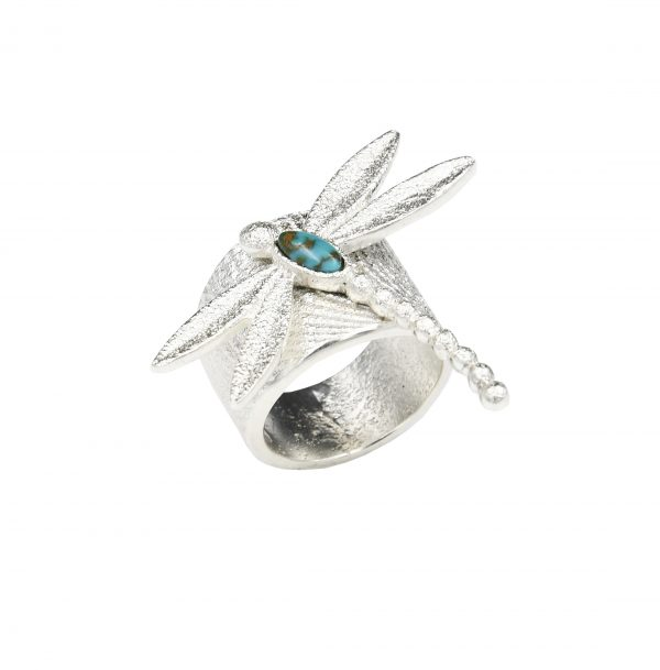 Sterling silver dragonfly ring.