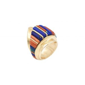 Gold ring with multi stone inlay
