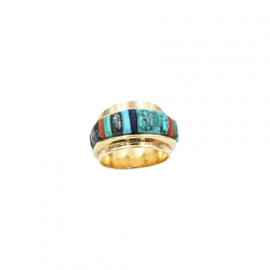 6 3/4 turquoise & gold ring