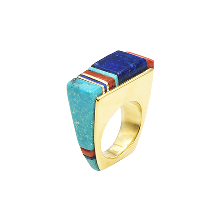 Turquoise & Morencie inlaid gold ring