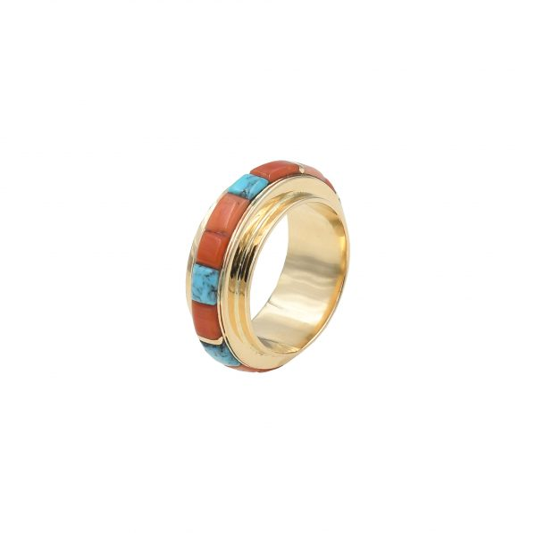 Gold ring with coral & turquoise inlay