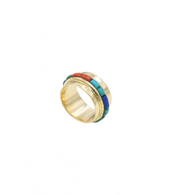 Gold with turquoise & coral ring