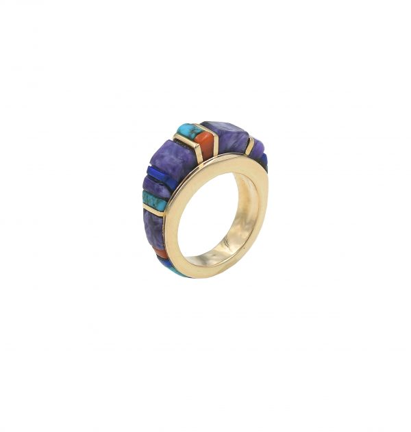 Gold & multi stone ring