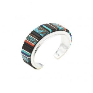 Sterling silver bracelet with multi stone inlay