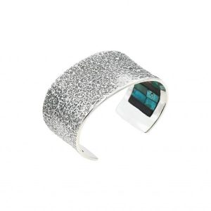 Sterling silver bracelet with turquoise inlay