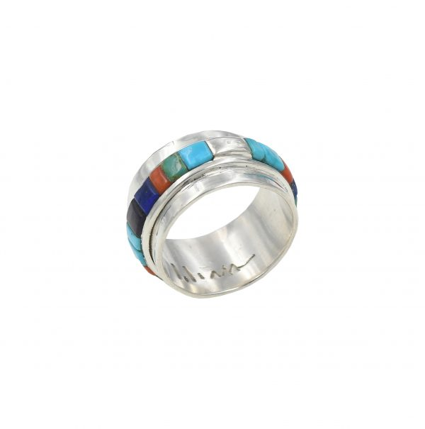 Sterling silver ring with stone inlays