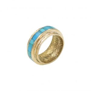 Gold & turquoise band ring