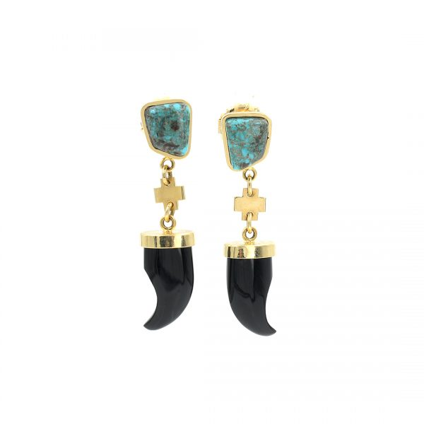 14k Gold and Turquoise Earrings by Don Supplee