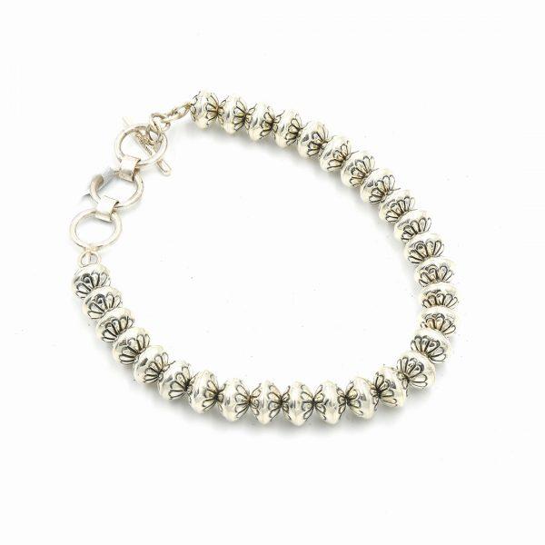 Sterling silver Beaded Bracelet by Mary Marie Yazzie