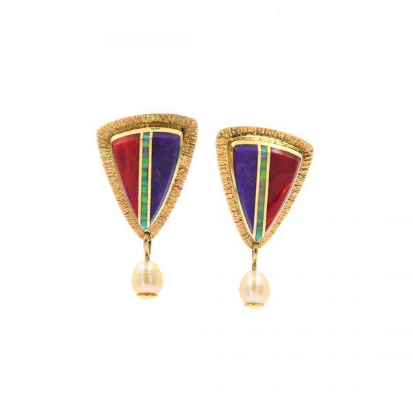 14K Gold Inlaid Earrings by Duane Maktima