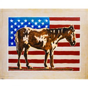 Painting of a horse in front of an American flag