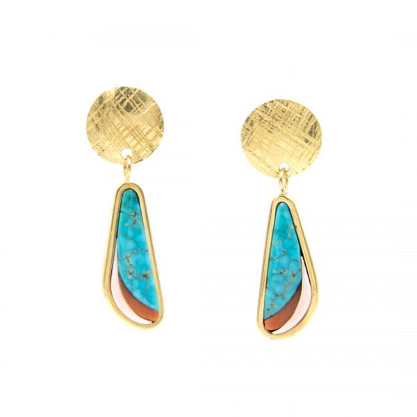 18k Gold Inlaid Earrings by Cheyeene Harris