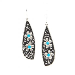 REBECCA BEGAY STERLING SILVER FLOWER EARRINGS