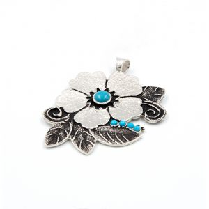 Rebecca Begay Sterling Silver Turquoise Pendant
