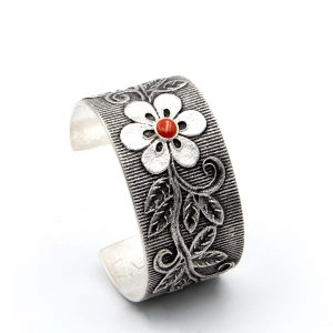Sterling Silver Bracelet With Coral by Rebecca Begay