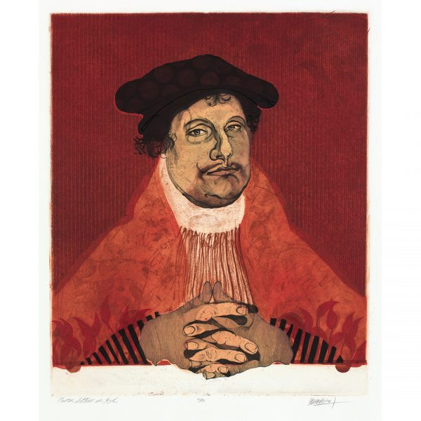 A print of Martin Luther in Red